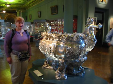 Margaret with a sterling silver wine cooler, V & A, London